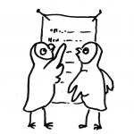 Aktuelle Angebote, zwei Eulen stehen vor einer angeschlagenen Liste mit Angeboten - Piktogramm für nicht Lesende