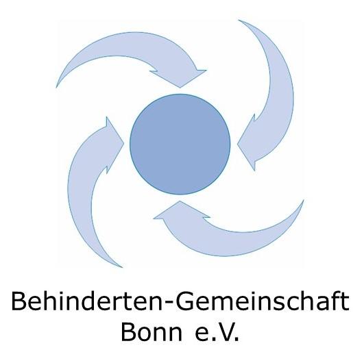Logo der Behindertengemeinschaft Bonn - vier blaue Pfeile zeigen auf einen blauen Kreis