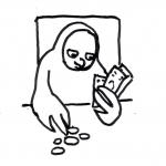 Eule zählt Geld - Piktogramm für nicht Lesende