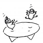 zwei Eulenkinder auf einem Trampolin - Piktogramm für Nicht Lesende