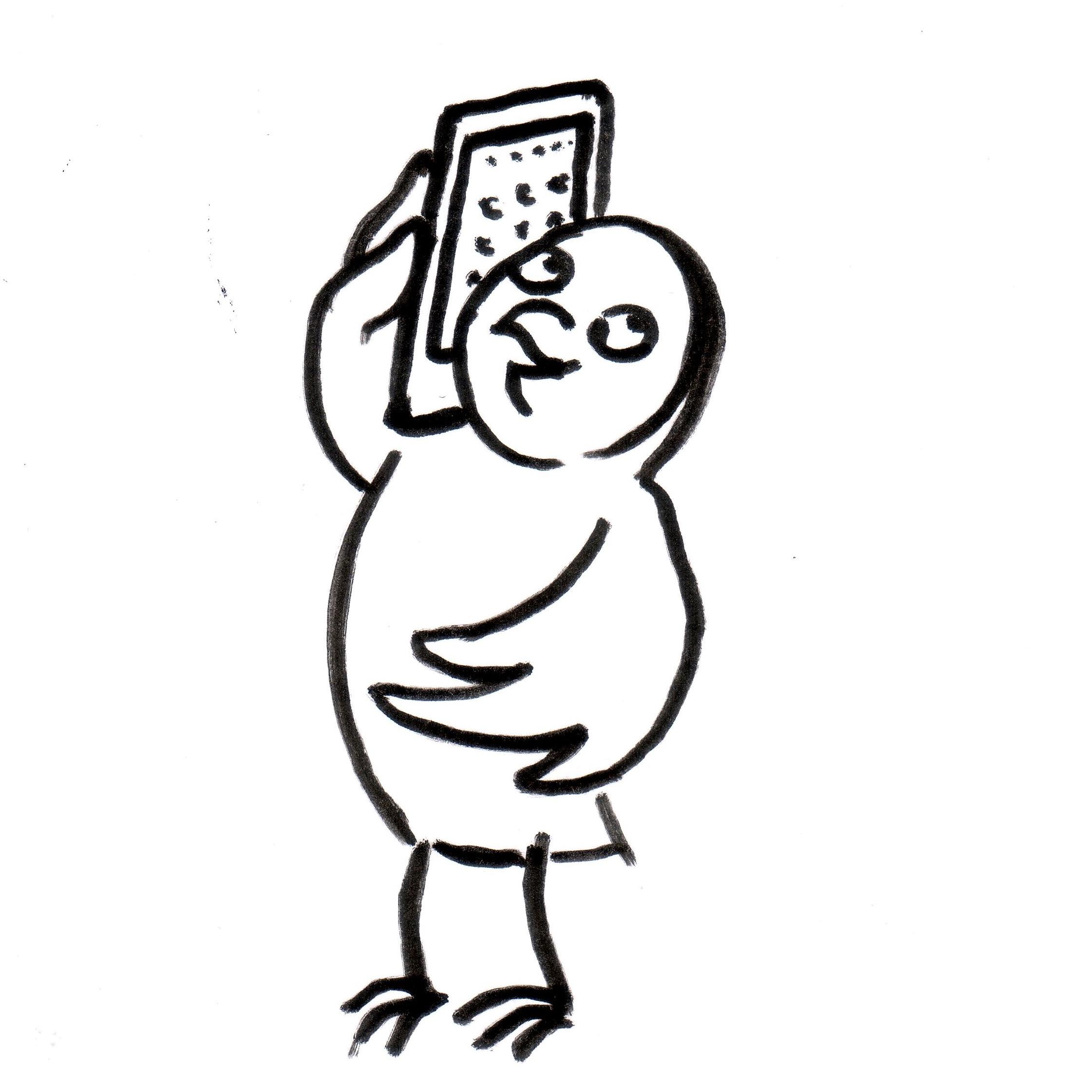 Eule mit Handy - Piktogramm für nicht Lesende