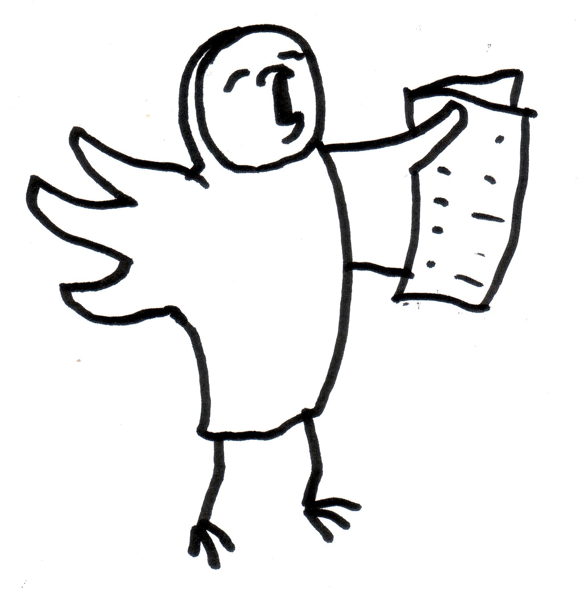 schreiende Eule mit Zeitung - Piktogramm für nicht Lesende