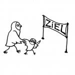 zwei Eulen laufen auf ein Ziel zu Piktogramm für nicht Lesende
