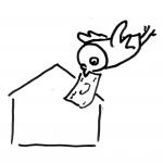 Eule fliegt mit einem Geldschein im Schnabel zu einem Haus - Piktogramm für nicht Lesende