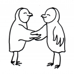 Zwei Eulen schütteln sich die Hände - Piktogramm für nicht Lesende