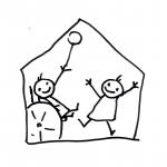 Zwei Kinder spielen in einem Haus, ein Kind sitzt im Rollstuhl - Piktogramm für nicht Lesende
