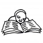 Eule liest eine Zeitung - Piktogramm für nicht Lesende