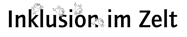 """Schriftzug """"Inklusion im Zelt"""" mit kleinen Eulen, die um die Buchstaben fliegen."""
