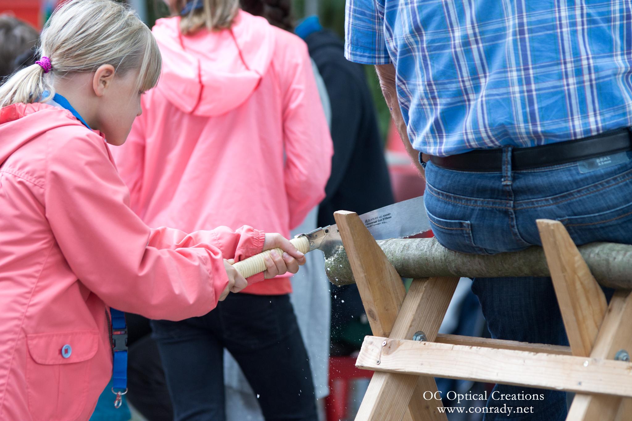 Ein Mädchen mit einer rosa Jacke sägt mit einer Säge eine Baumscheibe von einem Ast ab. Der Ast liegt auf einem Holzbock. Der Ast wird festgehalten indem ein Mann sich auf den Ast gesetzt hat.