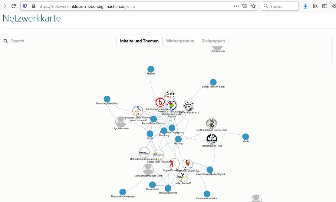 Screenshot der Internetseite Netzwerk Inklusion. Zu sehen sind die Logos von unterschiedlichen Institutionen die mit blauen Punkten und anderen Logs über Striche verbunden sind.