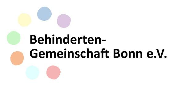 Logo der Behindertengemeinschaft Bonn, 7 farbige Punkte umgeben den Nameszug
